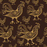 Seamless pattern with lace cock 49. Seamless texture (pattern) with cock (rooster) - symbol of 2017 (fire cock). Suitable for design: cloth, web, wallpaper Royalty Free Stock Image