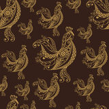 Seamless pattern with lace cock 50. Seamless texture (pattern) with cock (rooster) - symbol of 2017 (fire cock). Suitable for design: cloth, web, wallpaper Stock Photography