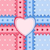 Seamless pattern with lace and heart-shaped card in pink and blu Stock Images