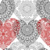 Seamless pattern with lace hearts Royalty Free Stock Photography