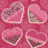 Seamless pattern with lace hearts Stock Photos