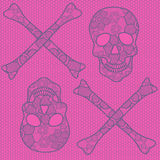 Seamless pattern of lace skulls Stock Image