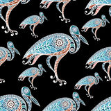 Seamless pattern with lace stork 2 Stock Images