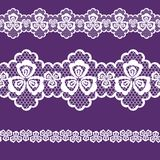 Seamless pattern lacy ribbon, white and purple color Royalty Free Stock Photography