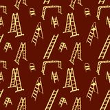 Seamless pattern of ladder silhouette. vector Stock Image