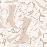 Seamless pattern with ladies shoes. On grungy background Stock Image