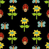 Seamless pattern with ladybird. Stock Images