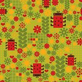 Seamless pattern with ladybird. Vector texture with flowers Royalty Free Stock Photo