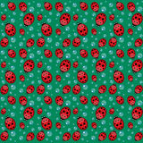 Seamless pattern with ladybirds and drops Stock Photos