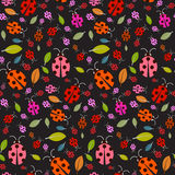 Seamless Pattern with Ladybirds and Leaves Stock Photography