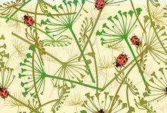 Seamless pattern with ladybirds and leaves. Vector illustration. Royalty Free Stock Photo