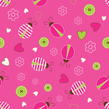 Seamless pattern with ladybugs. Buttons and flowers Royalty Free Stock Photo
