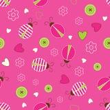 Seamless pattern with ladybugs Royalty Free Stock Photo