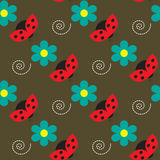 Seamless pattern with ladybugs and flowers on the brown background Stock Image