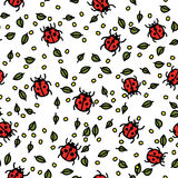 Seamless pattern with ladybugs and leaves Stock Photo