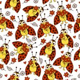 Seamless pattern with ladybugs and more red flowers. Vector background with cute insects, leaves and hearts Stock Image