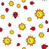 Seamless pattern of ladybugs and suns in in cartoon style vector illustration