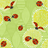 Seamless pattern with ladybugs. Vector art illustration. Kids ba Royalty Free Stock Images