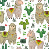 Seamless pattern with lama animal, cacti and floral elements. Hand drawn vector illustration in watercolor style Royalty Free Stock Photos