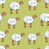 Seamless pattern with lambs on a green meadow.  EPS,JPG. Royalty Free Stock Photo