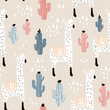 Seamless pattern with lamma, cactus and hand drawn elements. Childish texture. Great for fabric, textile Vector Illustration.  stock illustration