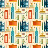 Seamless pattern with landmarks of United Kingdom Stock Photo
