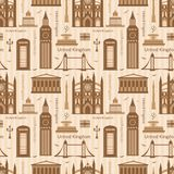 Seamless pattern with landmarks of United Kingdom Stock Photography