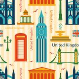 Seamless pattern with landmarks of United Kingdom Royalty Free Stock Images