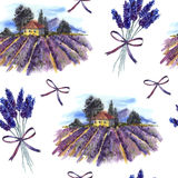 Seamless pattern with landscape and lavender Stock Photos