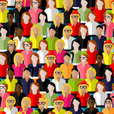 Seamless pattern with a large group of girls and women. flat  illustration of female community. Stock Images
