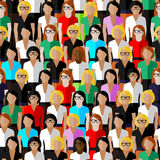 Seamless pattern with a large group of well- dresses ladies. Royalty Free Stock Photos
