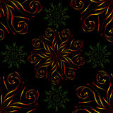 Seamless pattern with large red and small green circular floral ornament on black Stock Photo