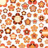 Seamless pattern with large and small bright flowe Stock Images