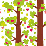 Seamless pattern - large trees with red apples and green leaves on white background. Vector Stock Image