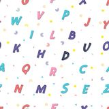Seamless pattern - the Latin alphabet. Children`s colorful style, cute letters. Can be used for your design Royalty Free Stock Photography