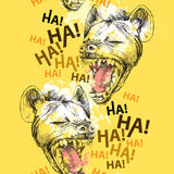Seamless pattern with laughing hyena and blots on the yellow  background Royalty Free Stock Images