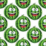 Seamless pattern of a laughing watermelon Stock Image
