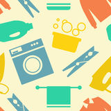 Seamless pattern of Laundry and Washing Icons Stock Image