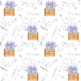 Seamless pattern with lavender flowers in the wood boxes Stock Photo