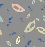 Seamless pattern with lavender and leaves Royalty Free Stock Photos