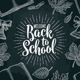 Seamless pattern with leaf, book , bell, lettering Back to School. Stock Photo