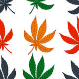 Seamless pattern of leaf marijuana different. Colors on a white background. Vector texture for your design royalty free illustration