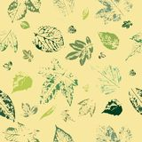 Seamless pattern of leaf prints on yellow background. Postcard with leaves prints. Leaves of trees royalty free illustration