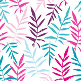 Seamless pattern with leafs tropical fern palm for fashion textile. Or web background. Magenta pink purple sky blue aqua silhouette on white background. Vector Royalty Free Stock Photography