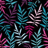 Seamless pattern with leafs tropical fern palm for fashion textile or web background. Magenta pink purple sky blue aqua silhouette. On black background. Vector Royalty Free Stock Images