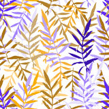 Seamless pattern with leafs tropical fern palm for fashion textile or web background. orange ultramarine violet brown silhouette o. N white background. Vector Stock Images
