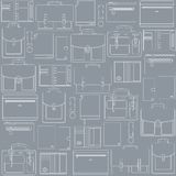 Seamless pattern with leather goods on the gray ba Royalty Free Stock Image