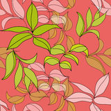 Seamless  pattern with leaves. Universal template for greeting card, web page, background Royalty Free Stock Photography