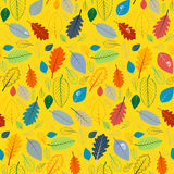 Seamless Pattern with Leaves. Abstract Yellow Seamless Pattern with Leaves Stock Photos
