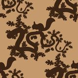 Seamless pattern with leaves, acorns and squirrels stock illustration